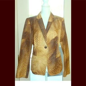 Escada sz 44 L brown tan faux animal print jacket